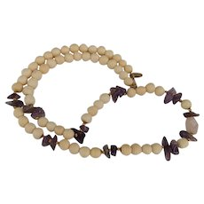 Miriam Haskell  Carved Bone Amethyst and Rose Quartz Necklace