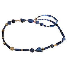 Lapis Lazuli and Coral Asymmetrical  Necklace