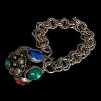 Large Jewel Studded Orb Charm Bracelet