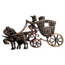 Sterling Marcasite Carriage Pin