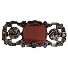 Sterling Silver Carnelian Art Deco Era Pin