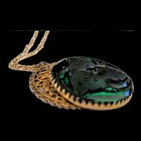 Large Freirich Emerald Green Glass Pendant