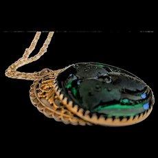 Large Freirich Emerald Green Glass Pendant