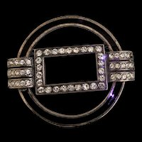Art Deco Revival Sterling and Rhinestone Pin