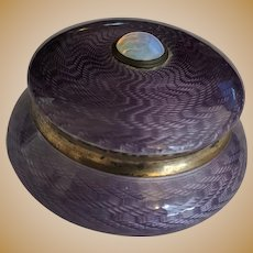 Silver Guilloche Deep Lavender Enamel Hinged Box with Opal