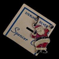 Vintage Sterling Enamel Santa Claus Charm