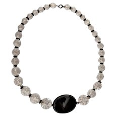 Art Deco Era Crystal Onyx Necklace
