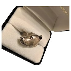 Sterling Silver Pit Bull Dog Ring