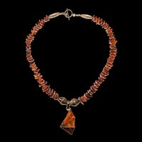 Sterling Silver Genuine Amber Vintage Artisan Necklace