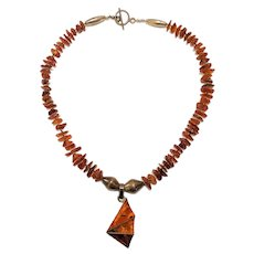 Genuine Amber Vintage Artisan Necklace