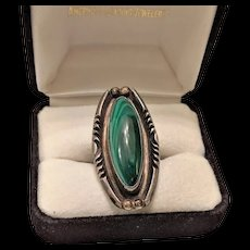 Sterling Silver Malachite Tall Ring