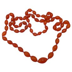 44 Inch Strand of Carnelian Beads Necklace