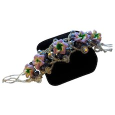 Crystal and Violets Artisan Bracelet