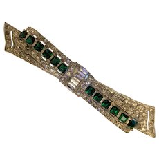 Art Deco Green Rhinestone Bow Pin