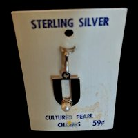 Vintage Sterling Cultured Pearl Charm
