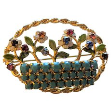 Vintage Basket of Flowers Pin