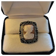 Art Deco Sterling Marcasite Cameo Ring