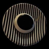 Laminated Black Striped Lucite Hat Pin