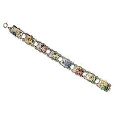 Floral Porcelain Links Bracelet