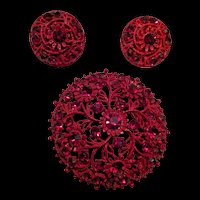 Red Enamel Rhinestone Pin and Earrings