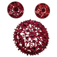 Red Enamel Rhinestone Pin and Earrings