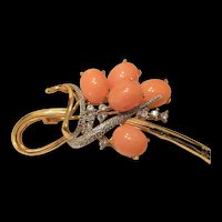 Coral  and Rhinestone Pin
