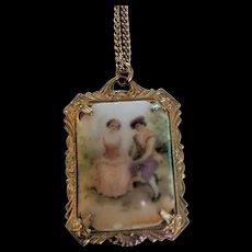 Vintage Porcelain Romantic Couple Pendant Necklace
