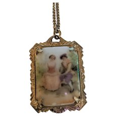 Vintage Porcelain Romantic Couple Pendant Necklace