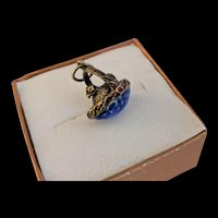 Cobalt Blue Enamel Chicken Egg Charm Pendant