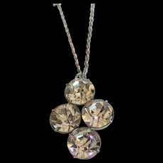 Vintage Large Headlight Stones Pendant Necklace