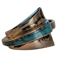 Sterling Silver Turquoise Asymmetrical  Ring