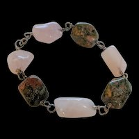Rose Quartz and Rhodocrosite Sterling Silver Bracelet