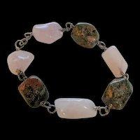 Rose Quartz and Rhodocrosite Sterling Silver Bracelet