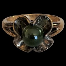 Goldwashed Sterling and Jade Ring