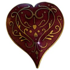 Striking Red Enamel Heart Pin Pendant