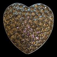 Vintage Potmetal Rhinestone Heart Pin