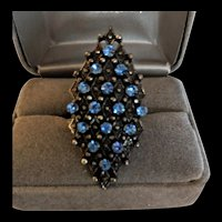 Blue Rhinestone Cocktail Ring