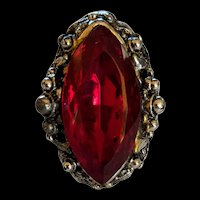 Large Red Rhinestone Ring