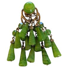 Wow Green Art Glass Pin