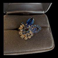 Vintage Blue Rhinestone Ring