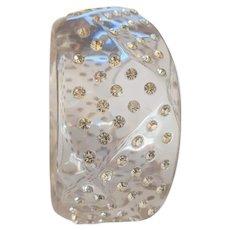 Big Chunky Clear Lucite and Rhinestone Bracelet