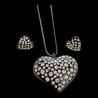 Black Hearts  Rhinestones Necklace and Earrings