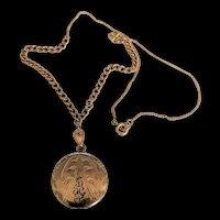 Gold Filled Engraved Locket Necklace