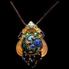 Glass and Rhinestone Pendant Necklace