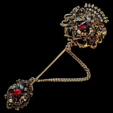 Victorian Revival Rhinestone Pin  by Art