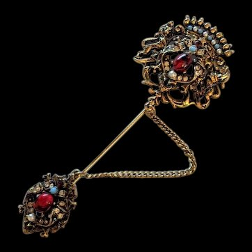 Victorian Revival Rhinestone Pin  by Art