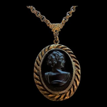 Brass and Glass Victorian Revival Cameo Necklace