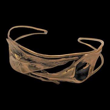 Vintage Artisan Brass Calla Lily Bracelet