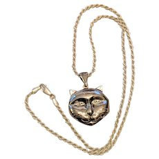 Sterling Silver Cat Locket Pendant Necklace