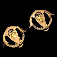 Retro Modern Gold Filled Dress Clip Set